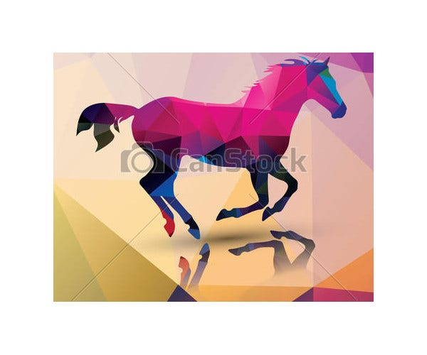 Polygon Horse Vector Illustration