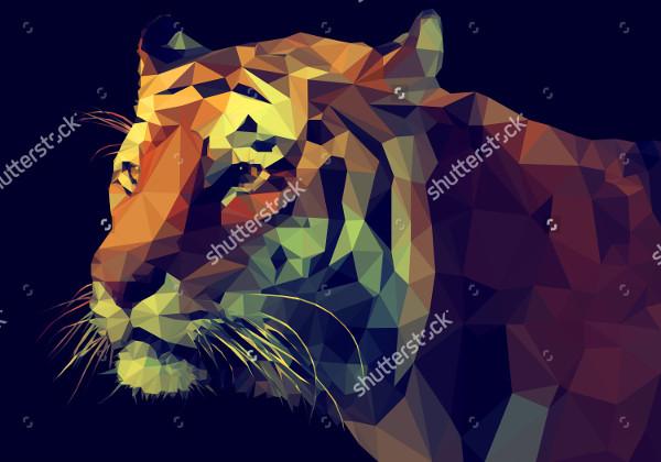 polygonal tiger illustration