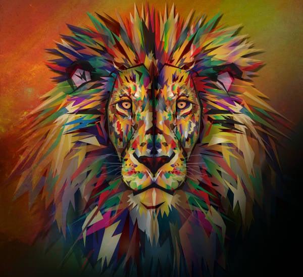 polygonal lion illustration