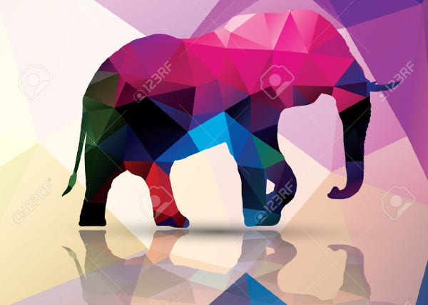 Polygonal Geometric Elephant Illustration