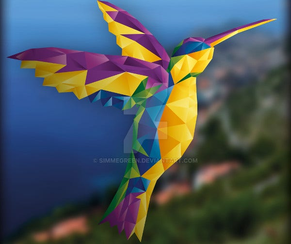 polygonal colorful bird illustration