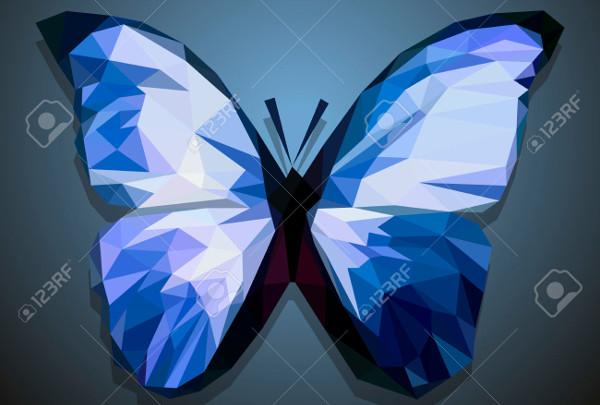 polygonal blue butterfly illustration