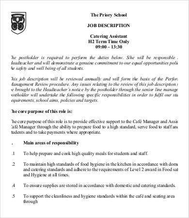 school catering assistant job description - Job Description Of Neurologist