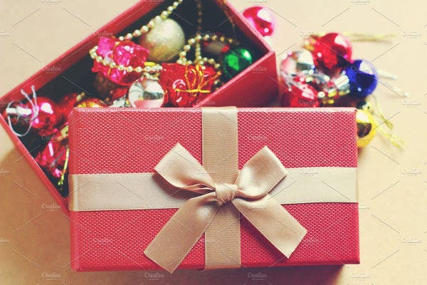 Gift Box With Christmas Ornaments