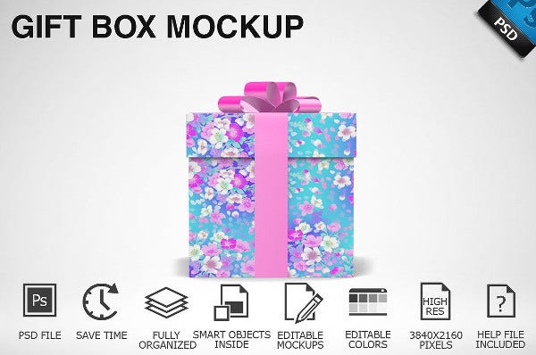 Decorative Gift Box Mockup
