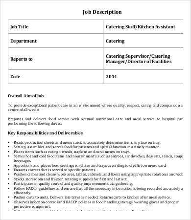 Catering Staff Job Description Sample  Catering Manager Job Description