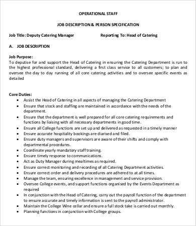 Attractive Deputy Catering Manager Job Description Sample Throughout Catering Manager Job Description
