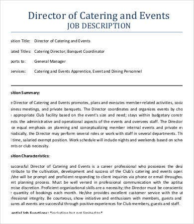 Awesome Event Catering Job Description Example Within Catering Manager Job Description