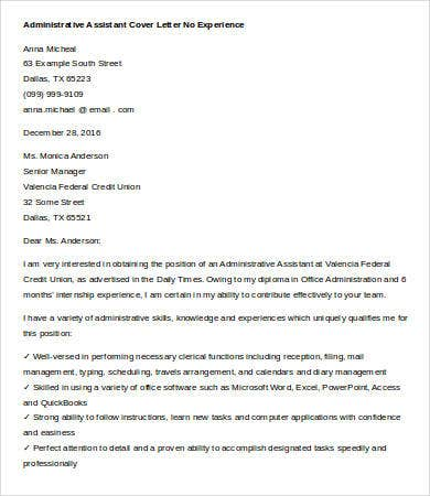 No Experience Administrative Assistant Cover Letter