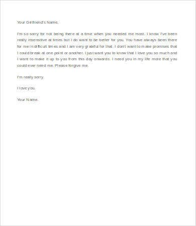 apology letter to girlfriend letters for 9 free word documents 1079