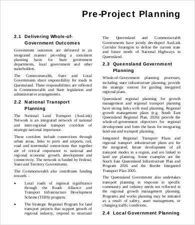 Pre Project Planning Template