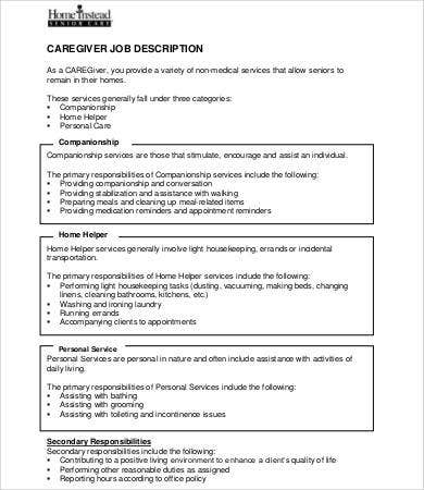 Caregiver Job Description Templates   Free Pdf Format Download