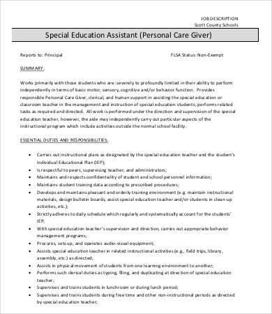 personal caregiver job description