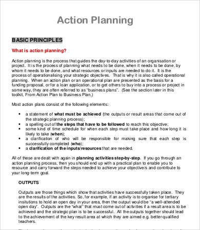 Action Plan Format For Project