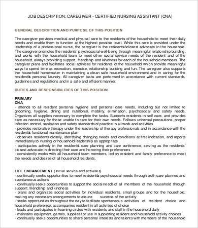assistant caregiver job description