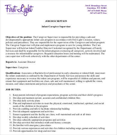 infant caregiver job description