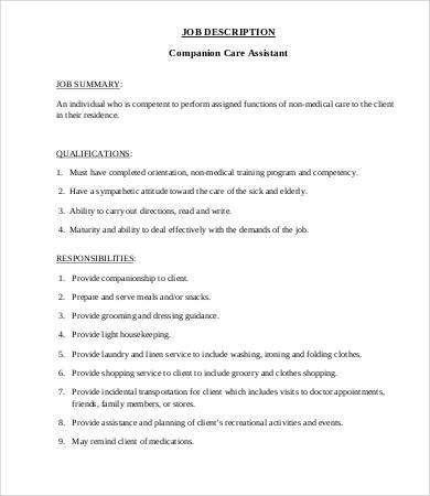 companion caregiver job description