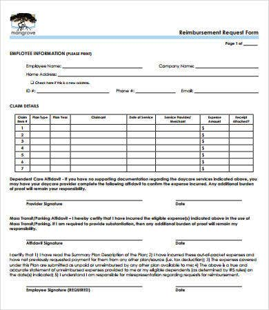 Reimbursement Form   Free Pdf Download Documents  Free