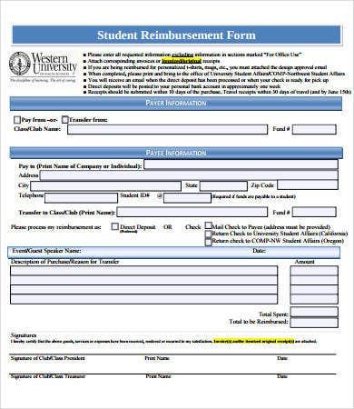 student reimbursement form