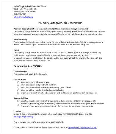 child caregiver job description