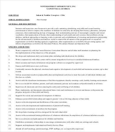 toddler caregiver job description