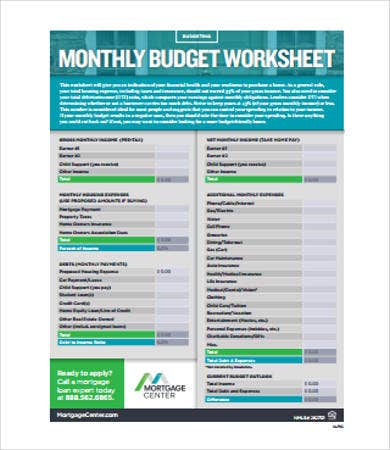 home monthly budget worksheet
