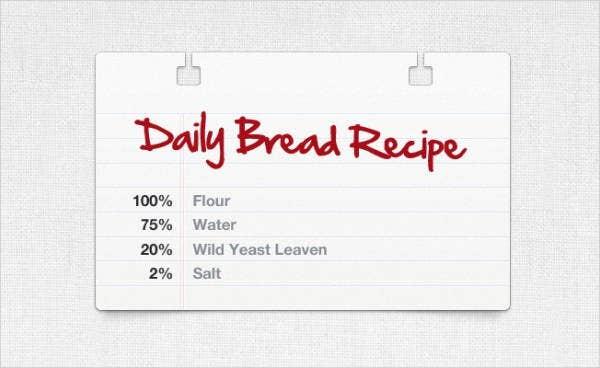 Daily Bread Recipe Card