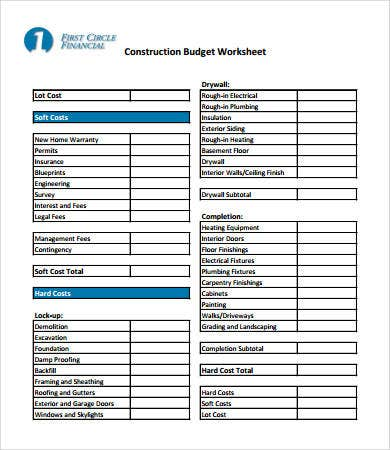 Home budget worksheet template 9 free pdf documents for House building budget