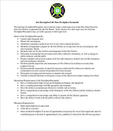 paramedic firefighter job description