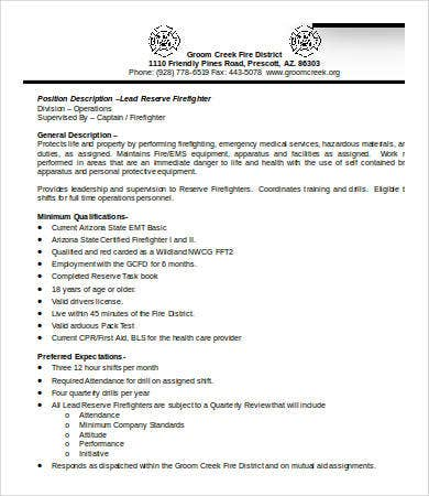 Firefighter Job Description Templates  Pdf Doc  Free