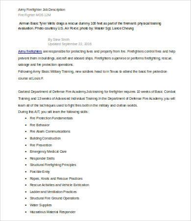 army firefighter job description