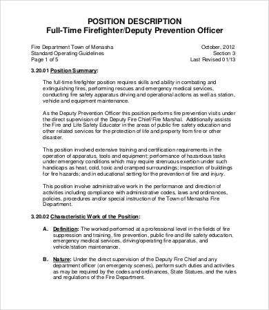 Firefighter Job Description - 9+ Free Word, Pdf Documents Download