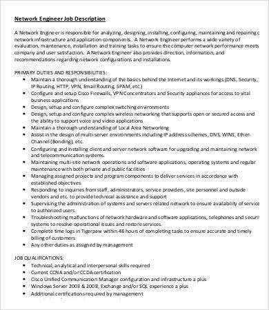 Elegant Network Engineer Job Description Sample