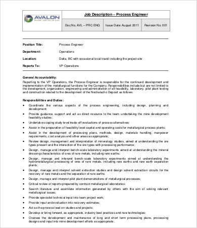 Sample Engineer Job Description Templates  Pdf Doc  Free