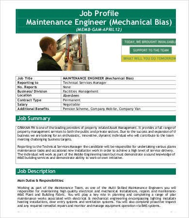 Maintenance Engineer Job Description Mechanical Design Engineer Job