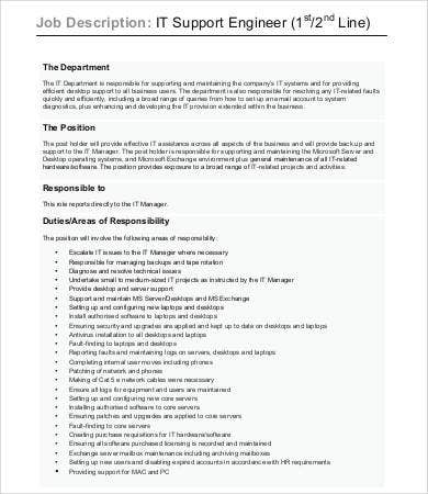 it support engineer job description template