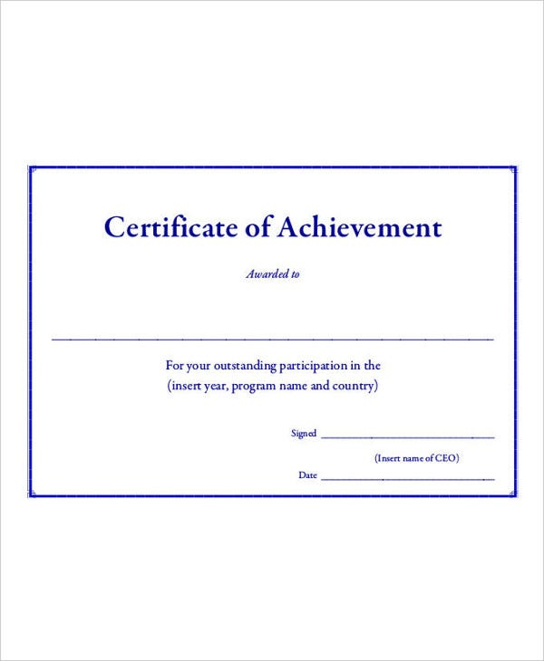 Certificate Of Achievement Template 9 Free Word PDF PSD – Blank Achievement Certificates