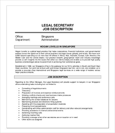 10 secretary job description templates pdf doc free - Legal compliance officer job description ...