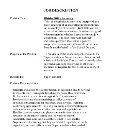 Secretary Job Description Templates  Pdf Doc  Free  Premium