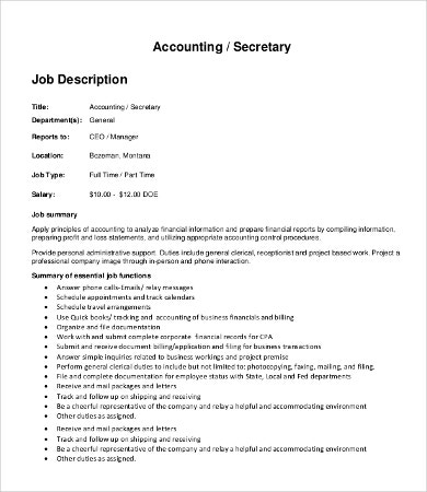 Job Description Position Profile Accountability Authority
