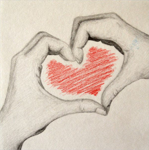 Heart with Hand Drawings