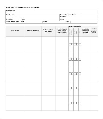 Risk Assessment Templates  Word Pdf Documents Download  Free