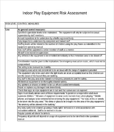 Equipment Risk Assessment Template