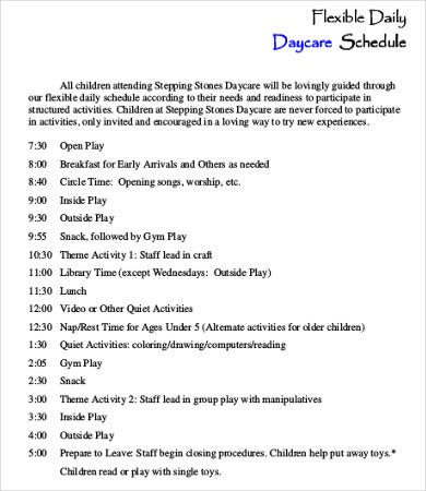 daily daycare schedule template