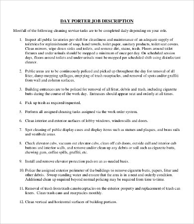Porter Job Description Templates   Free Word Pdf Format