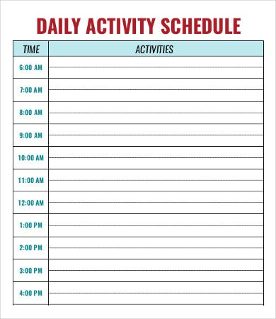 Daycare schedule template 7 free word pdf format for Activity timetable template