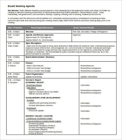 board meeting agenda template in word