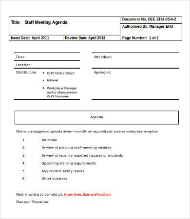 staff meeting agenda template in word