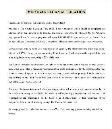 mortgage loan application template