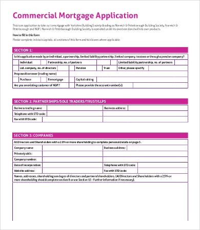commercial mortgage application template